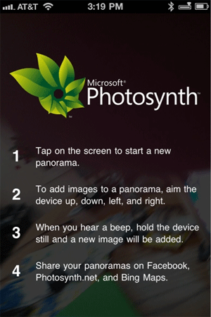 Applications pour iPhone et Androïd... Photsynth.a